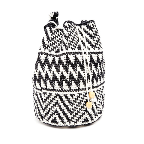 Striped Knit Bucket Bag