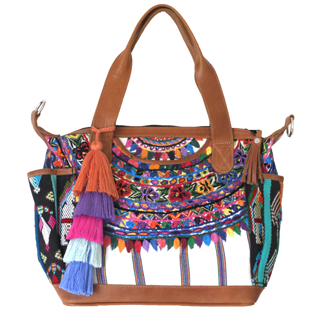 Hiptipico Travel Bag with Colorful Assorted Poms, Poms handmade in central america, pompom charms, ethically produced pompoms