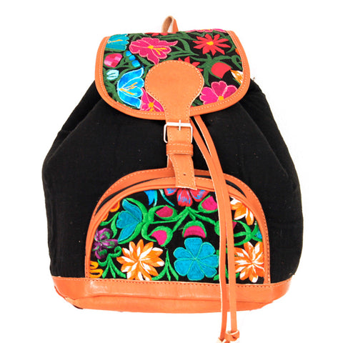 Hiptipico Maya Textile Backpack, Hiptipico Wanderlust Backpack, Hiptipico Woven Textile Embroidered Backpack, Boho Backpacks for Women, Free People Bohemian Carpet Textile Woven Backpack, Boho Multicolored Woven Backpacks Handmade from Vintage Textiles, floral backpack, black flower backpack, flower backpack