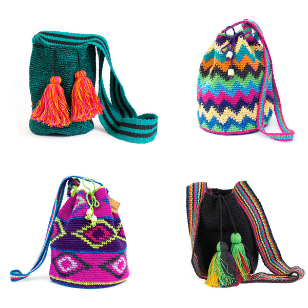Multicolor Knit Bucket Bag