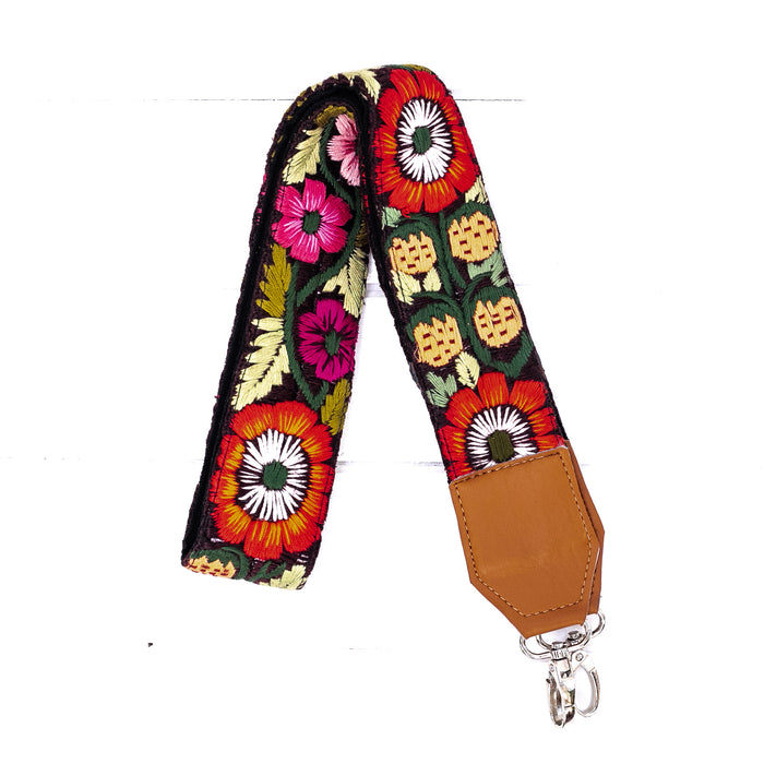 Hiptipico Straps, Leather Camera Strap, Embroidered Strap, Camera Straps, Clip-on Camera Strap, Hand Embroidered Camera Strap, Bag Strap,