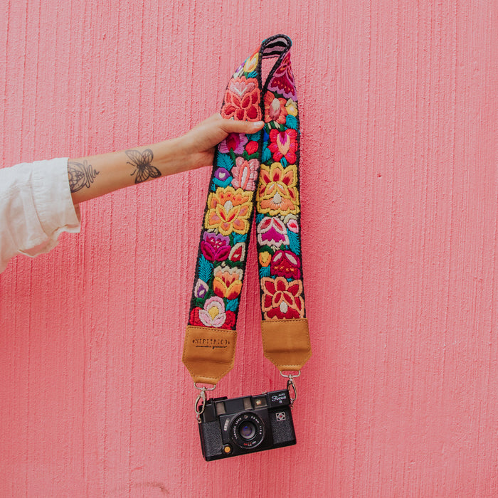 Hiptipico Camera Strap, Colorful Landscape, Hand Woven Straps, Bohemian Camera Strap, Lake Atitlan, Correa De Camara, Ethically Made, Sustainably Sourced, Upcycled, Embroidered Straps,