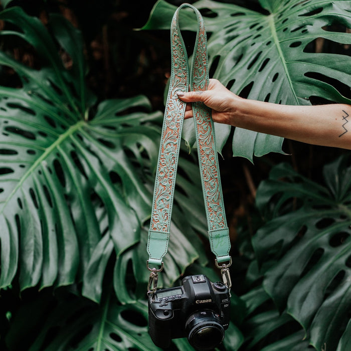 Floral Embossed Camera Strap - Mint
