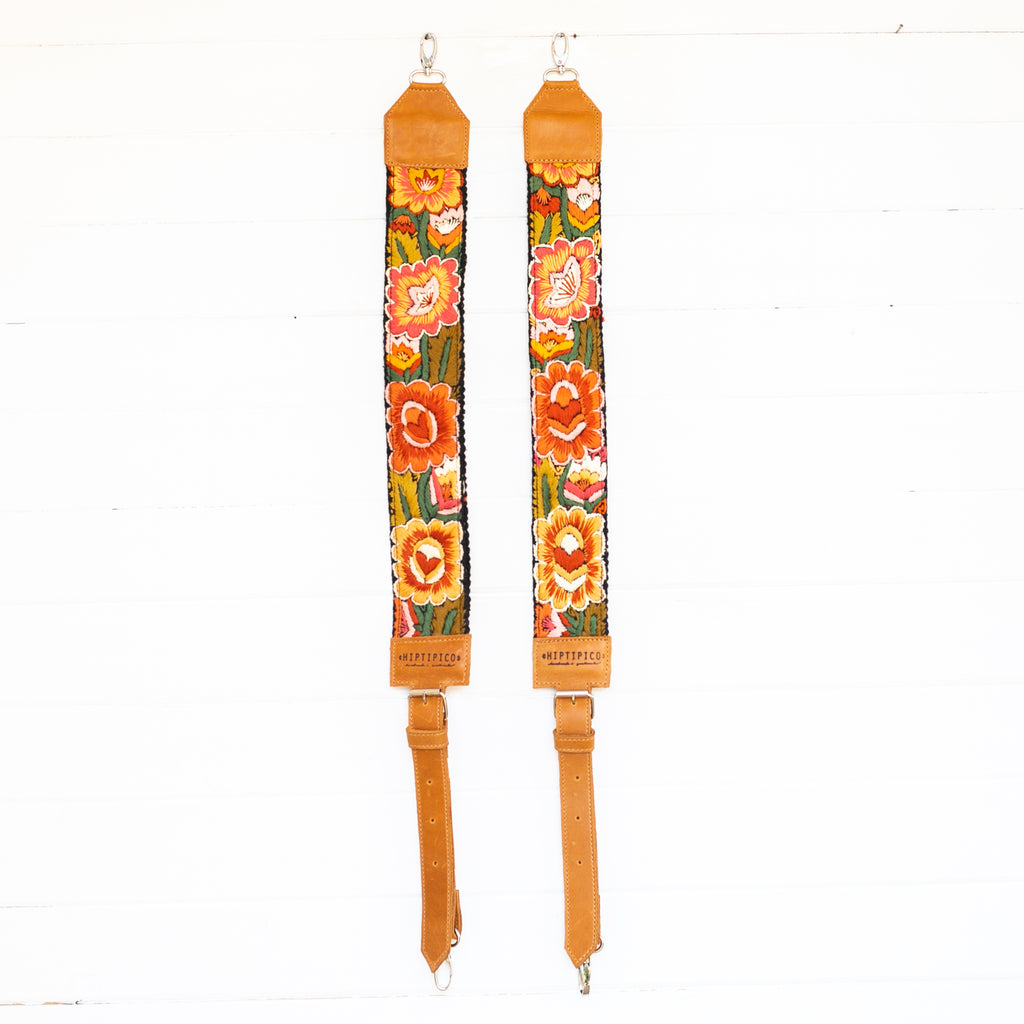 Hiptipico Backpack Straps, Embroidered Backpack Straps, Guatemala Backpack Straps, Textile Bag Strap, Huipil Backpack Straps, Handmade Bag Straps, Bohemian Backpack, Adjustable Backpack Straps, Leather Backpack Straps,