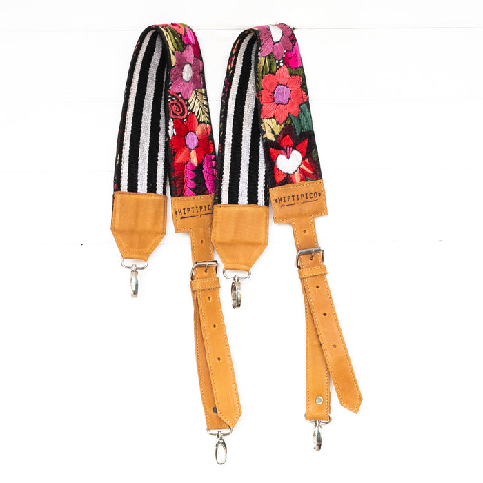 Hiptipico Backpack Straps, Embroidered Backpack Straps, Guatemala Backpack Straps, Textile Bag Strap, Huipil Backpack Straps, Handmade Bag Straps, Bohemian Backpack, Adjustable Backpack Straps, Leather Backpack Straps