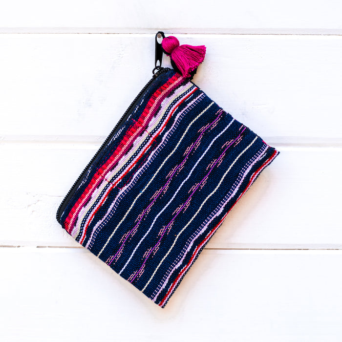 sustainable coin pouch, ethically made free people pouch, textile coin pouch, zero waste lifestyle