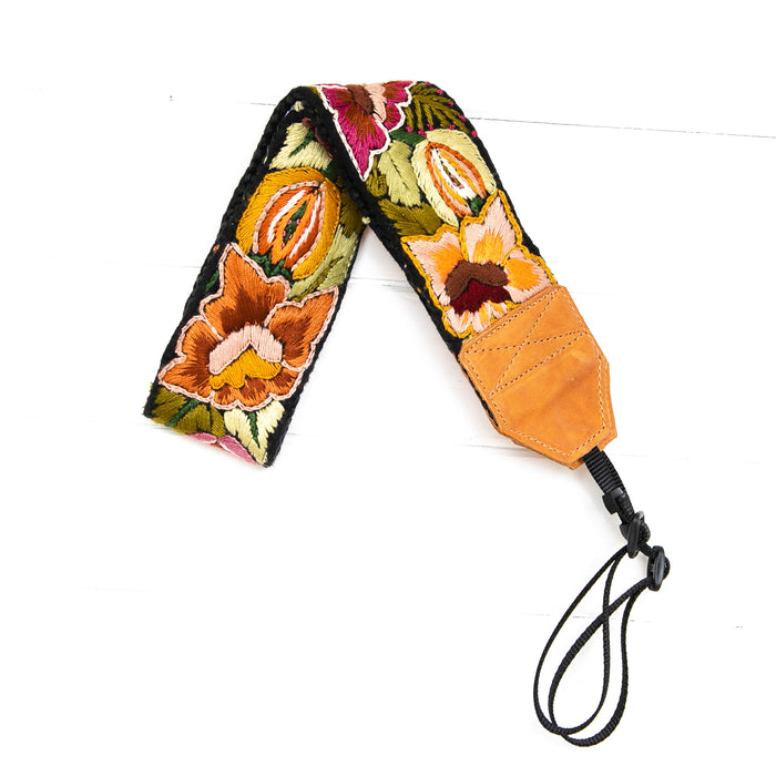 Newly Embroidered Camera Strap - Willow