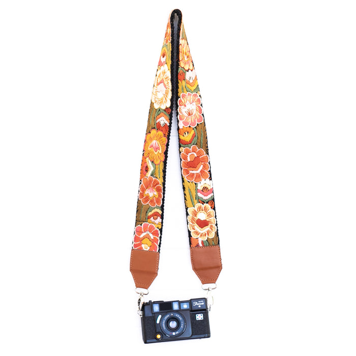 Hiptipico Straps, Leather Camera Strap, Embroidered Strap, Camera Straps, Clip-on Camera Strap, Hand Embroidered Camera Strap, Bag Strap, Vegan Leather Straps