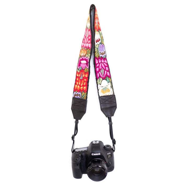 Hiptipico Straps, Leather Camera Strap, Embroidered Strap, Camera Straps, Black Nylon Loop Camera Strap, Hand Embroidered Camera Strap, Bag Strap, Professional Camera Strap,