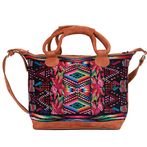 Hiptipico Weekend Travel Bags, Cute Weekend and Travel Bags for Women, Artisanal Duffle Tapestry Embroidered Bags, Unique Carryall and Carry-ons for Bohemian Traveling Woman, Bohemian Textile Festival Spacious Weekend Bag