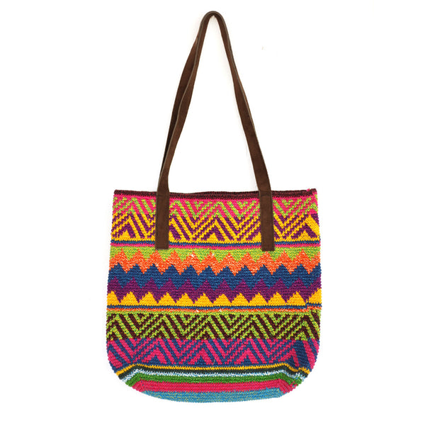 Hiptipico Crochet Bucket Bags, Bucket Bags and Hobo Bags for Women, Bohemian Colorful Knit Festival Bucket Bag, Spacious Colorful Bucket Bag
