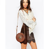 Hiptipico Eclipse Crossbody, Hiptipico Embossed Leather Crossbody Bag for Women, Luxury Tooled Leather Handbags for Women, Artisanal Leather Crafted feminine Crossbody Bag with Braided Leather