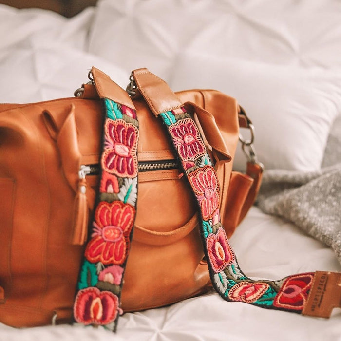 Hiptipico Leather Mini Cross Body Huipil Purse, Hiptipico Bags, Hiptipico Leather Bags, Hiptipico Crossbody Bags, Textile Bags, Leather Crossbody Bags, Handmade Handbags, Free People Leather Bags, Tan Leather Bag