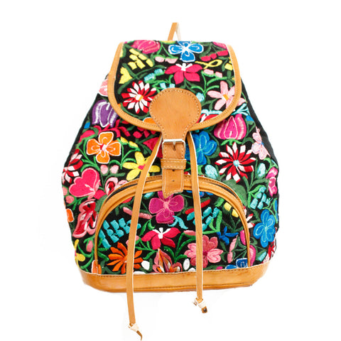 Hiptipico Maya Textile Backpack, Hiptipico Wanderlust Backpack, Hiptipico Woven Textile Embroidered Backpack, Boho Backpacks for Women, Free People Bohemian Carpet Textile Woven Backpack, Boho Multicolored Woven Backpacks Handmade from Vintage Textiles, floral backpack, flower backpack, black floral backpack
