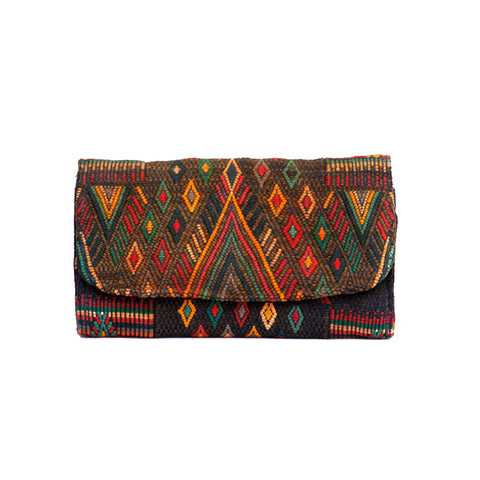Hiptipico Textile Wallet, Boho Tapestry Wallets for Women, Free People Bohemian Carpet Textile Woven Wallet, Boho Multicolored Woven Wallets Handmade from Vintage Textiles, Spacious Colorful Travel Wallets
