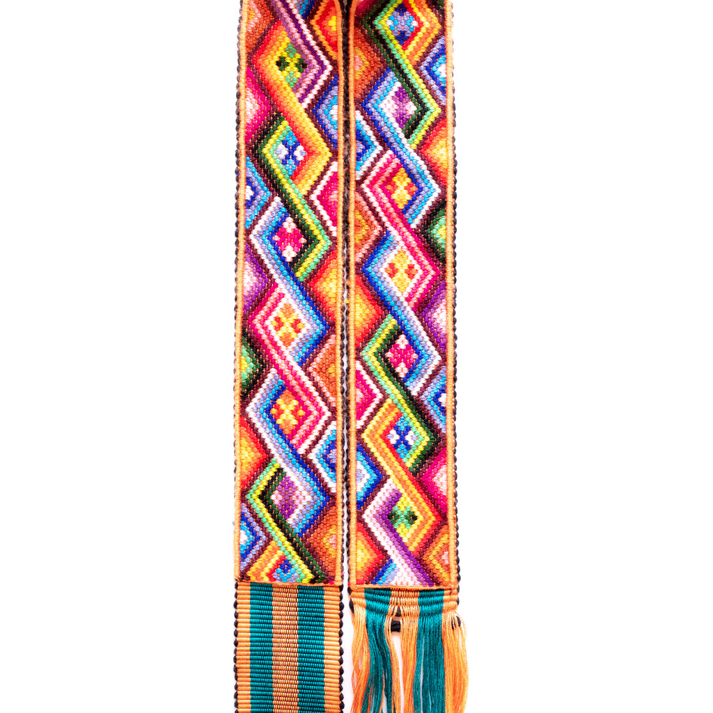 Hiptipico Camera Strap, Wearable Art, Colorful Landscape, Hand Woven Straps, Bohemian Camera Strap, Lake Atitlan, Correa De Camara, Ethically Made, Sustainably Sourced, Upcycled, Embroidered Straps,