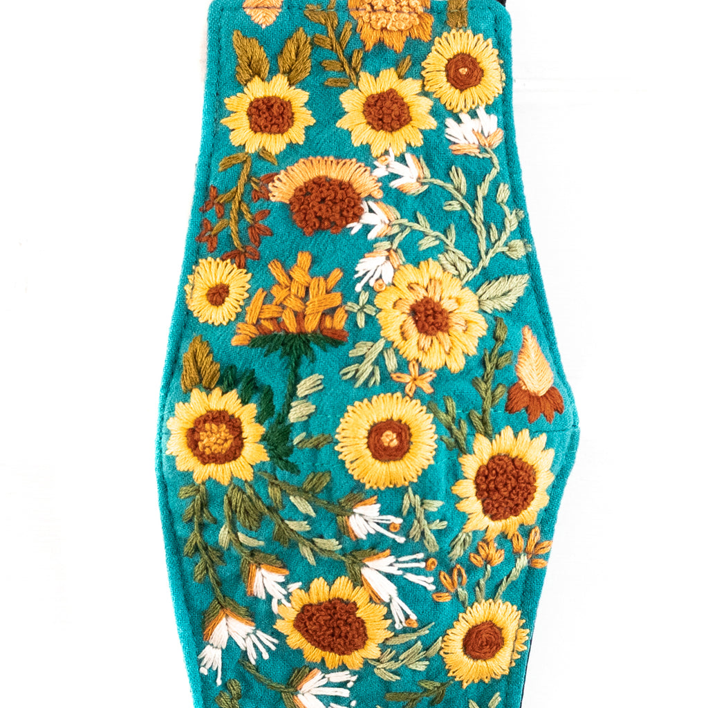 Hand Embroidered Filter Mask - Sunflower Fields