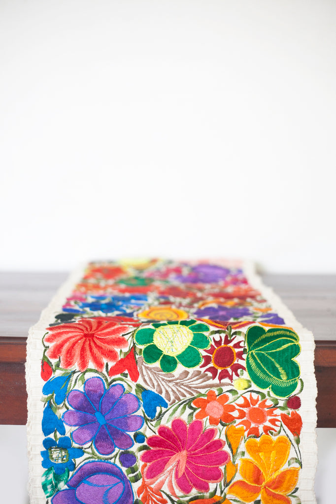 Floral Table Runner - Ivory