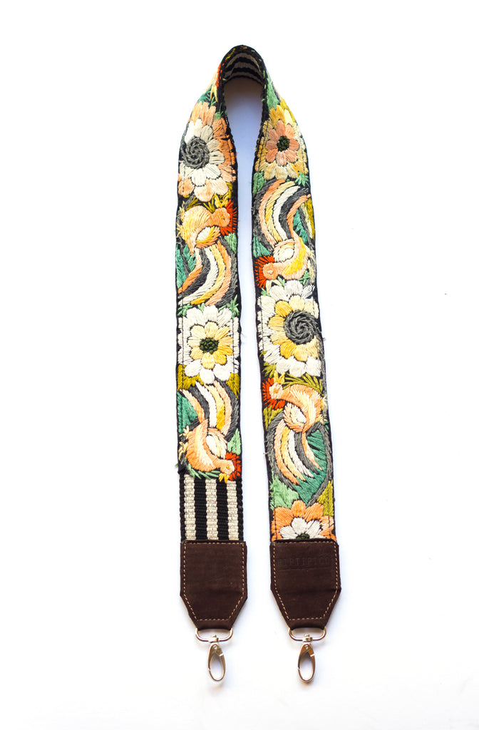 Leather Embroidered Strap - No. 583 Ivy