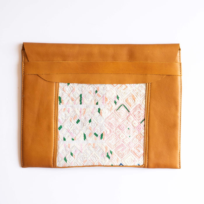 Leather Embroidered Laptop Case - 003