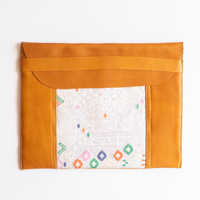 Leather Embroidered Laptop Case - 007