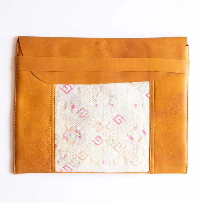 Leather Embroidered Laptop Case - 010