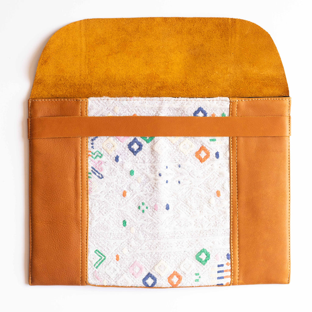 Leather Embroidered Laptop Case - 011
