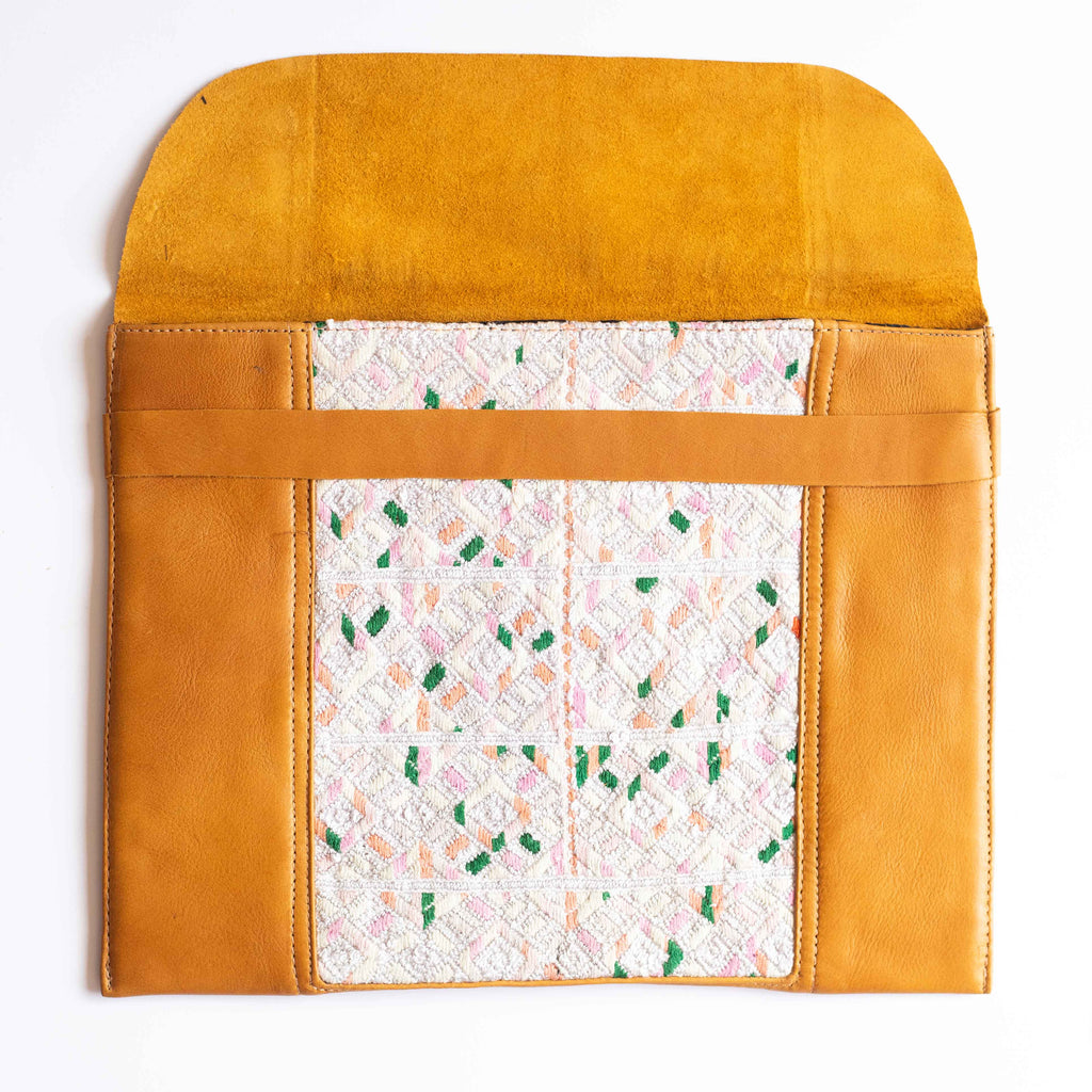 Leather Embroidered Laptop Case - 012