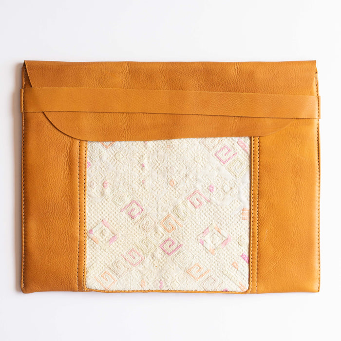 Leather Embroidered Laptop Case - 014