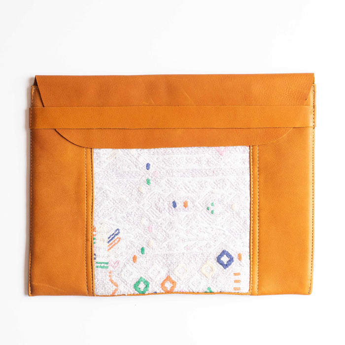 Leather Embroidered Laptop Case - 015