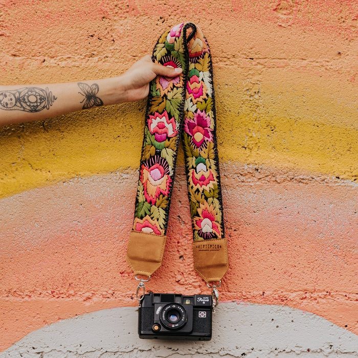 Hiptipico Straps, Leather Camera and Bag Strap, Embroidered Strap, Camera Straps, Clip-on Camera Strap, Hand Embroidered Camera Strap, Bag Strap,
