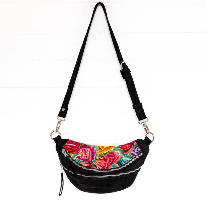 Hiptipico Sling Bags, Hiptipico Fanny Packs, Hiptipico Belt Bags, Full Leather Belt Bags, Floral Textiles Sling Bags, Guatemalan Textile Sling Bags, Top Grain Leather Fanny Packs, Free People Sling Bags, Free People Leather Convertible Bags