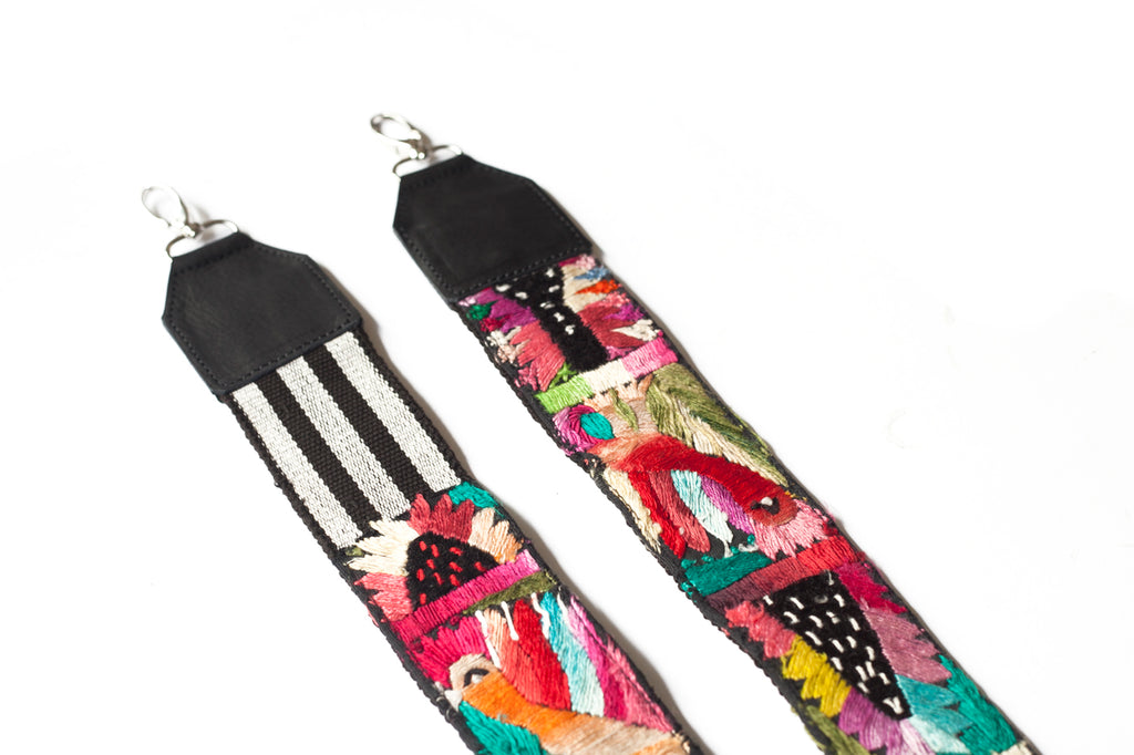 Leather Embroidered Strap - No. 570 Firecracker