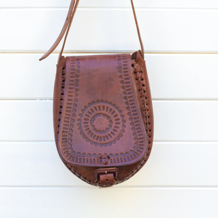 Hiptipico Leather Cross Body, Eclipse cross body, free people crossbody, tooled leather, embossed leather, jade leather bag