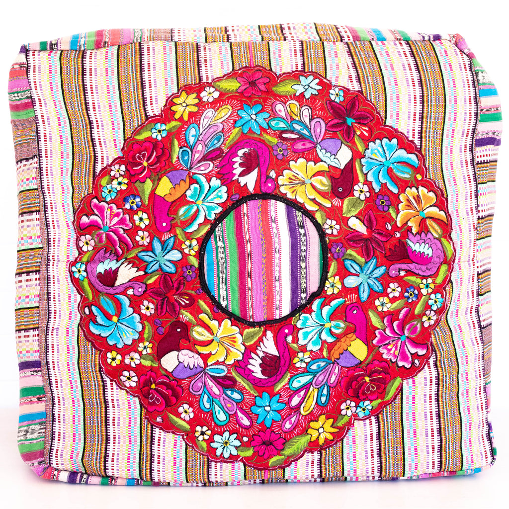 Hiptipico Tapestry Patchwork Pillow Bohemian Artisanal Huipil Floor Pouf, Hiptipico Floor Poufs, Huipil Floor Poufs, Textile Poufs, Bohemian House Decor, Hiptipico Home Decor, Guatemala Home Decor, Hiptipico Handmade Accessories, Handmade Home Decor