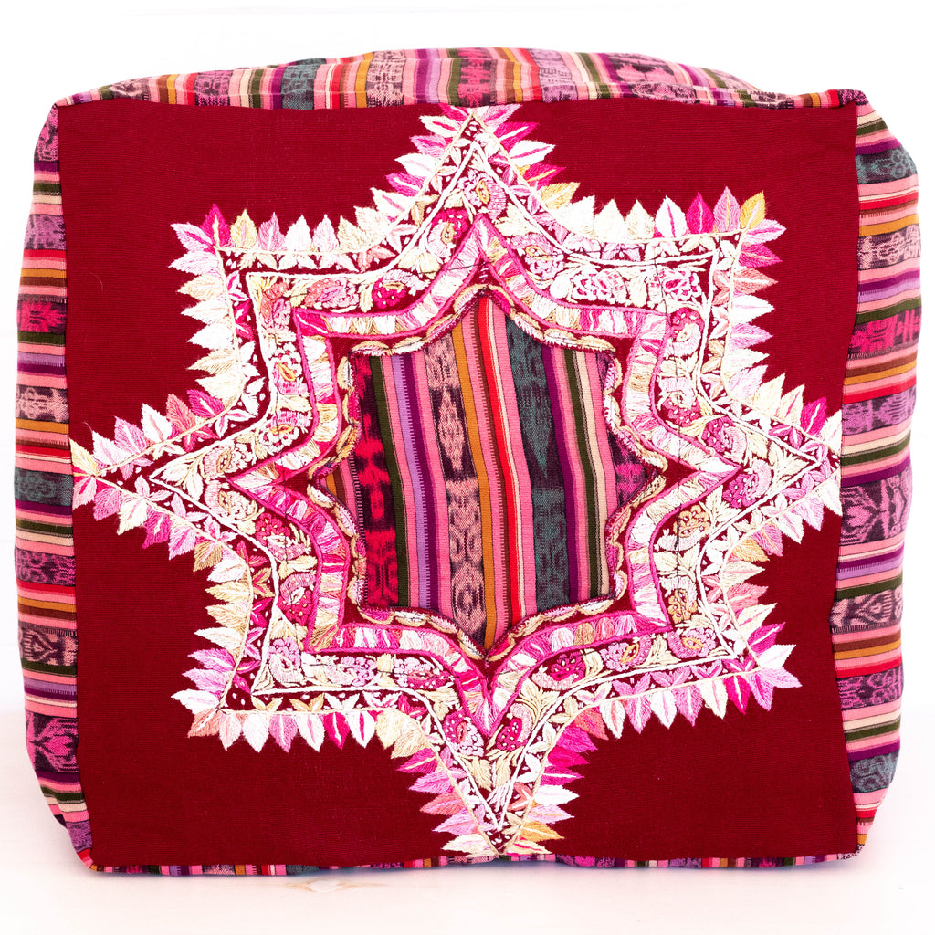 Hiptipico Tapestry Patchwork Pillow Bohemian Artisanal Huipil Floor Pouf, Hiptipico Floor Poufs, Huipil Floor Poufs, Textile Poufs, Bohemian House Decor, Hiptipico Home Decor, Guatemala Home Decor, Hiptipico Handmade Accessories, Handmade Home Decor,