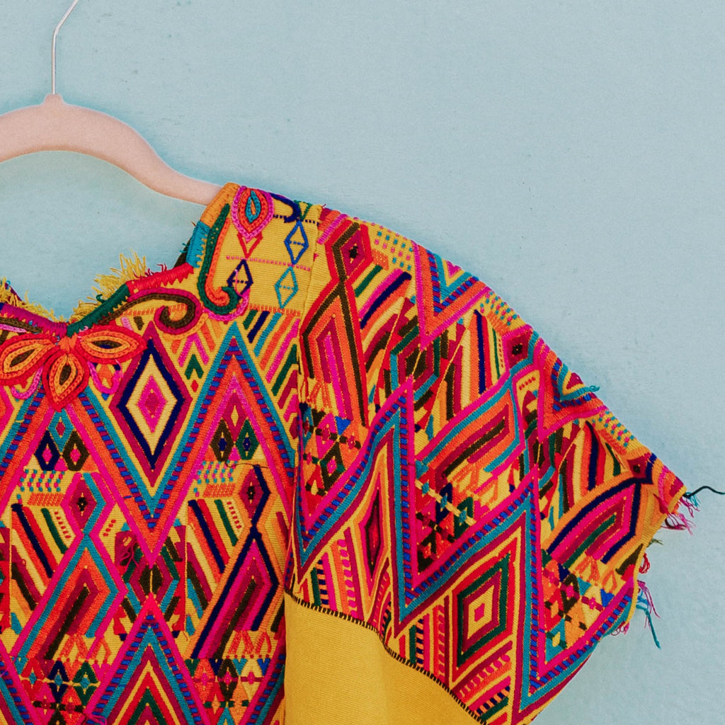 Hiptipico Colorful Textile, Hand Woven Fabrics, Wearable Art, Hiptipico Upcycled Textile, Huipil Repurposed, Handmade Textile, Hiptipico Textile Sourcing, Market Goodd, Who Made My Clothes, Ethical Source, Colorful Details, Colorful Fibers, Naturally Dyed Textile, Bohemian Style Inspo, Made Ethically