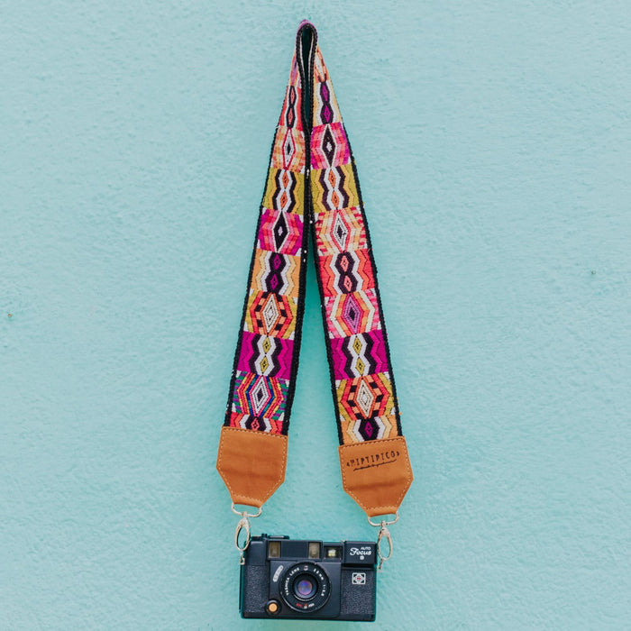 Hiptipico Straps, Leather Camera and Bag Strap, Embroidered Strap, Camera Straps, Clip-on Camera Strap, Hand Embroidered Camera Strap, Bag Strap