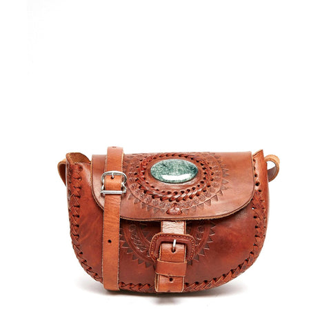 Jade Tooled Saddle Bag