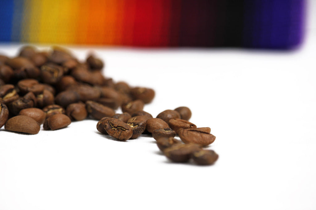 Macro shot of coffee beans on white surface with colorful horizon, Hiptipico Fair Trade Coffee, Cafe Loco Panajachel Coffee, Buy Fair Trade Coffee Online, Coffee Lover Gift Idea, Purchase Guatemalan Huehuetenango Coffee