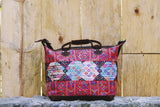 hiptipico weekender, hiptipico bag, embroidery bag, leather textile bag, guatemala bag, geo, weekender