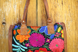hiptipico bag, embroidery bag, leather textile bag, guatemala bag, floral, handmade leather, bright floral bag