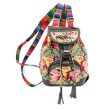 Hiptipico Leather Backpack, Boho Backpacks for Women, Free People Bohemian Festival Textile Leather Backpack, Boho Multicolored Woven Backpacks Handmade from Vintage Textiles, Artisanal Leather Bohemian Backpacks, mini backpack, floral backpack, festival backpack