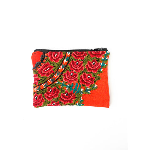 Orange Floral Travel Pouch