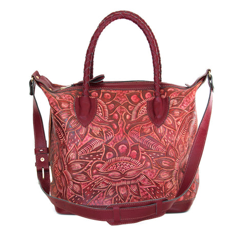 Hiptipico Maleta Weekender, Hiptipico Embossed Leather Tote Bags for Women, Luxury Tooled Leather Handbags for Women, Artisanal leather Crafted Feminine Handbags with Braided Leather