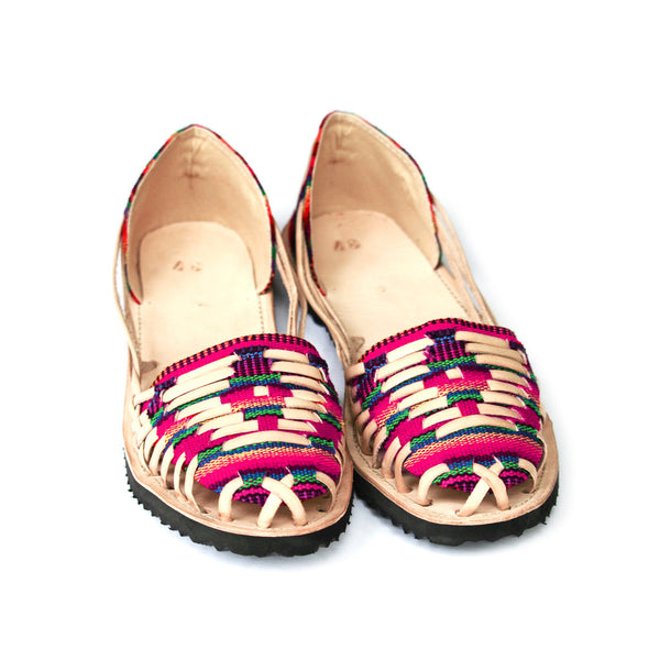 Hiptipico Handcrafted Leather Flats, Boho Braided Leather Huaraches, Bohemian Mexican Sandals, Colorful textile woven tapestry gladiator sandals, Boho Braided Sandals
