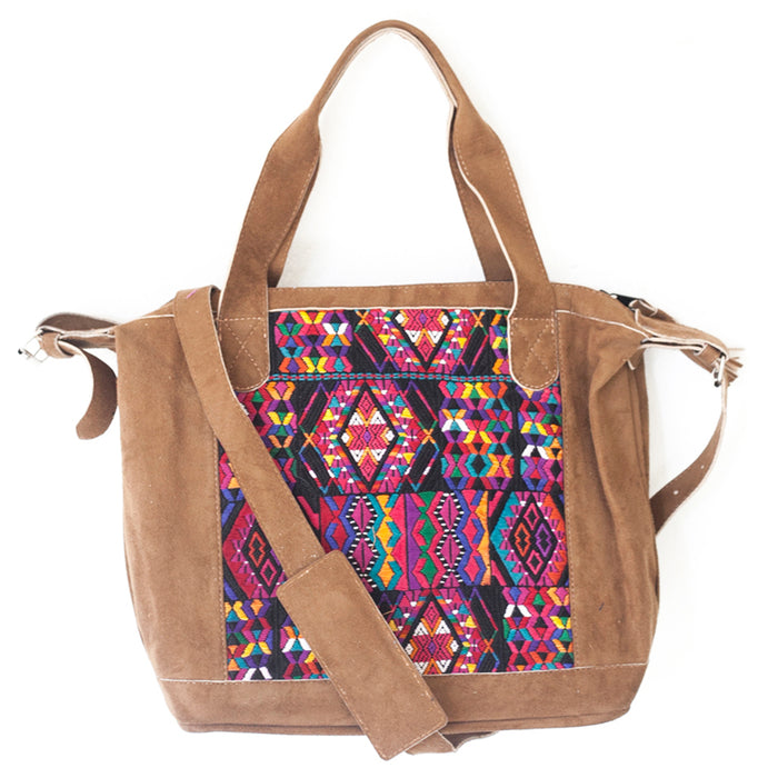 Hiptipico Travel Bag, Free People Handbag, Nena and Co Bag, Textile Handbag, Luxury Leather Bag, Handmade Guatemalan Bag, Free Shipping Guatemala bag, Fair Trade Leather Bag, Ethical Fashion Guatemalan Bag, Hiptipico Ethical Fashion, Shop Nena and Co Bags, Vegan Handbag, Vegan Leather Purse