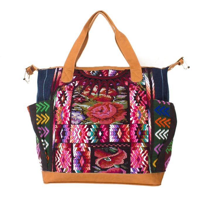 Hiptipico Travel Bag, Free People Handbag, Nena and Co Bag, Textile Handbag, Luxury Leather Bag, Handmade Guatemalan Bag, Free Shipping Guatemala bag, Fair Trade Leather Bag, Ethical Fashion Guatemalan Bag, Hiptipico Ethical Fashion