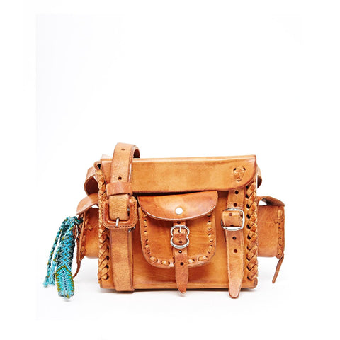 Hiptipico Women's Crossbody Bag, Rugged Leather Satchels with Bright Colors and Intricate Stitch Detailing, Bohemian Festival Crossbody Bag,