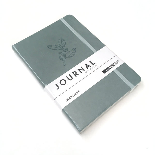 A5 Dot Grid Journal Blank with Leaf Pattern with Hard Cover